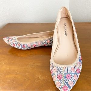 """Rampage Embroidered Rounded Toe Flats """"CIA"""""""